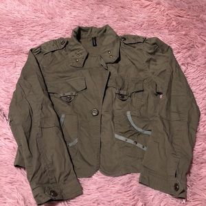 💗Army style crop jacket